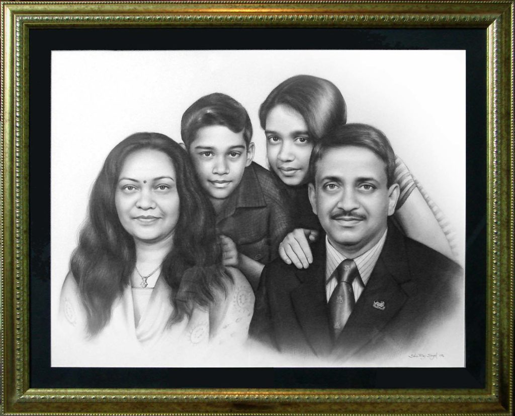The family pencil sketch