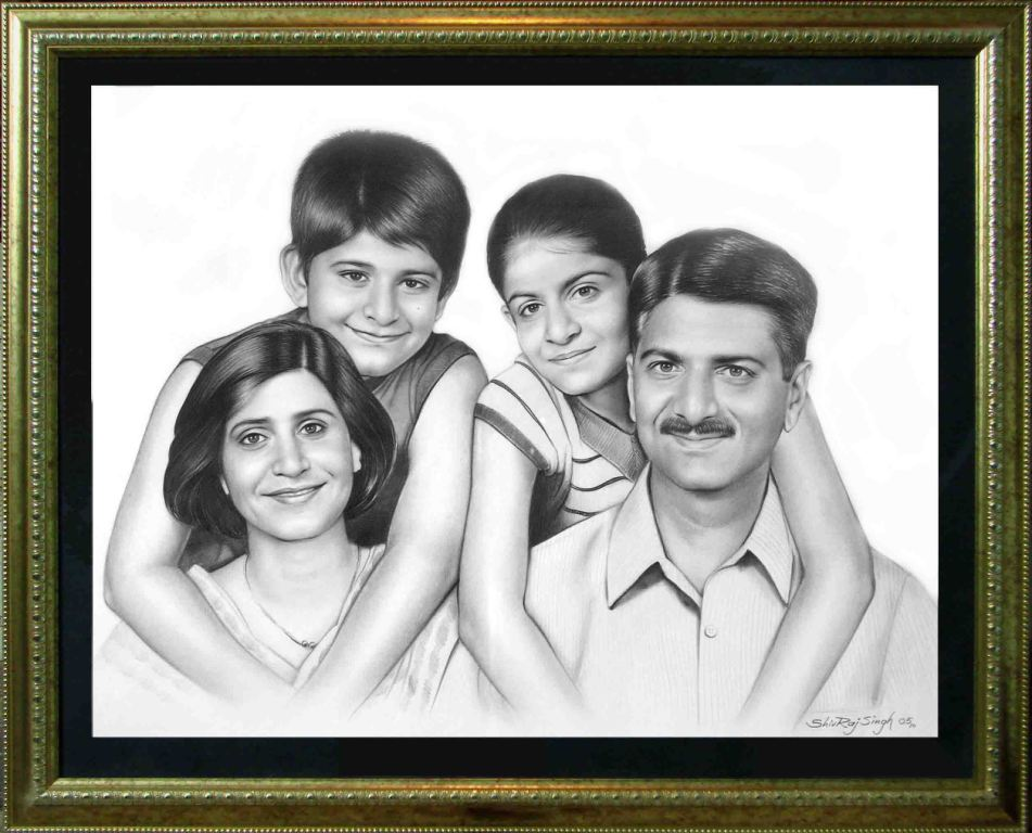 The Pencil Sketch of Family